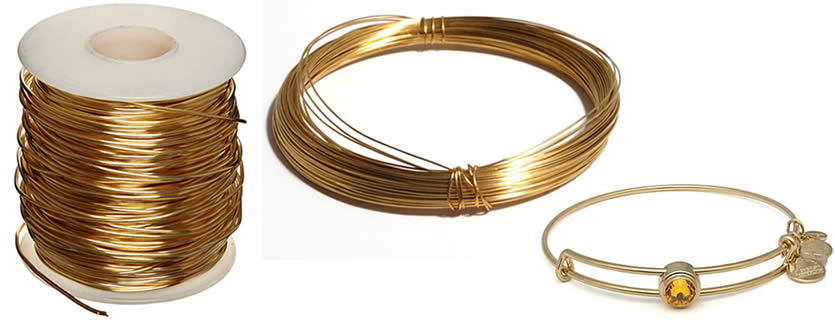 There is a bracelet made of brass wire.