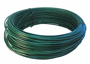 A coil of green PVC coated wire under white background.