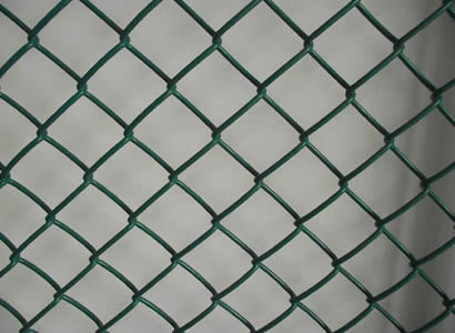 A green chain link mesh made of PVC wire.