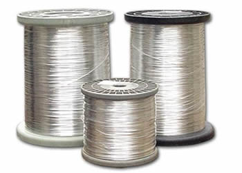 Three spools of tinned copper wires.
